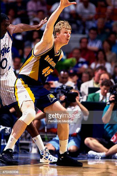 Rik Smits of the Indiana Pacers posts up against the Orlando Magic during game 2 of the Eastern Conference Finals on May 25 1995 at the Orlando Arena...