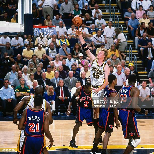 Rik Smits of the Indiana Pacers shoots a layup against the New York Knicks in Game Two of the Eastern Conference Finals during the 1999 NBA Playoffs...