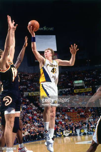 Rik Smits of the Indiana Pacers shoots during a game played on December 14 1994 at Market Square Arena in Indianapolis Indiana NOTE TO USER User...