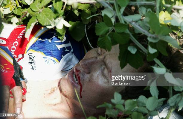 Rik Verbrugghe of Belgium and Cofidis lies in the bushes after he crashed on stage 14 of the 93rd Tour de France July 16, 2006 in between Montelimar...
