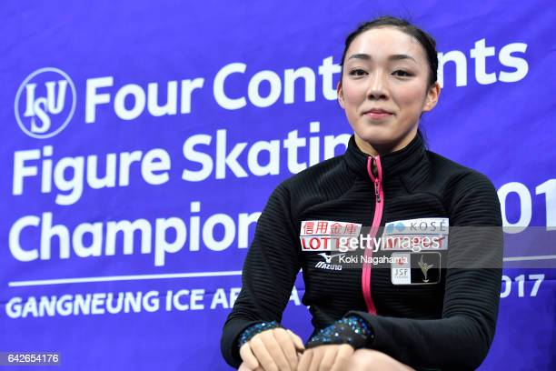 Rika Hongo of Japan reacts at the kiss and cry after the Ladies Free Skating during ISU Four Continents Figure Skating Championships Gangneung Test...