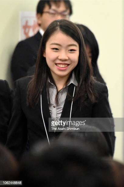 Rika Kihira attends a draw ahead of the Figure Skating Western Japan Championships at Nippon Gaishi Arena on November 1 2018 in Nagoya Aichi Japan