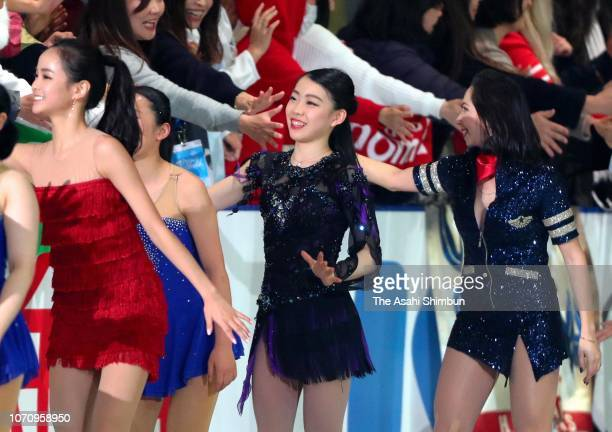 Rika Kihira of Japan applauds fans after the Gala Exhibition during day three of the ISU Grand Prix of Figure Skating NHK Trophy at Hiroshima...