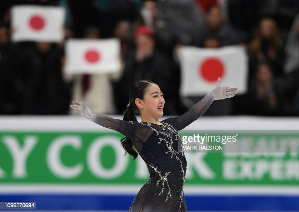 Rika Kihira of Japan celebrates after winning the Womens competition during the ISU Four Continents Figure Skating Championship at the Honda Center...
