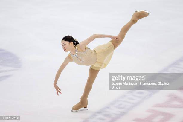 Rika Kihira of Japan competes in the Junior Ladies Short Program during day 1 of the Riga Cup ISU Junior Grand Prix of Figure Skating at Volvo Sports...