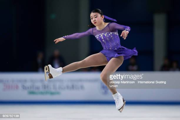 Rika Kihira of Japan competes in the Junior Ladies Short Program during the World Junior Figure Skating Championships at Arena Armeec on March 9 2018...