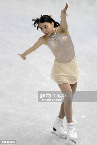 Rika Kihira of Japan competes in the Junior Ladies Singles Short Program during day one of the ISU Junior Senior Grand Prix of Figure Skating Final...