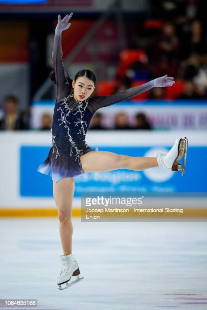 Rika Kihira of Japan competes in the Ladies Free Skating during day 2 of the ISU Grand Prix of Figure Skating Internationaux de France at Polesud Ice...