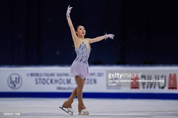 Rika Kihira of Japan competes in the Ladies Free Skating during day three of the ISU World Figure Skating Championships at Ericsson Globe on March...