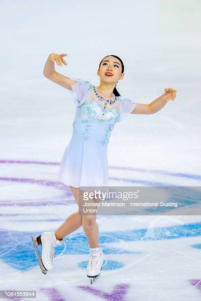 Rika Kihira of Japan competes in the Ladies Short Program during day 1 of the ISU Grand Prix of Figure Skating Internationaux de France at Polesud...