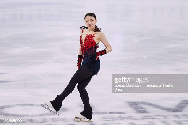 Rika Kihira of Japan competes in the Ladies Short Program during day one of the ISU World Figure Skating Championships at Ericsson Globe on March 24,...
