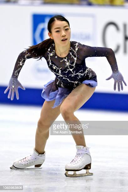 Rika Kihira of Japan in action at a practice session prior to the Ladies Singles Free Skating during day two of the ISU Grand Prix of Figure Skating...