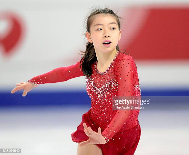Rika Kihira of Japan in action during a practice session during day one of the ISU Junior Senior Grand Prix of Figure Skating Final at Palais...
