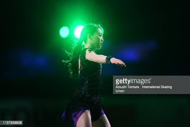 Rika Kihira of Japan performs during the exhibition gala on day five of the 2019 ISU World Figure Skating Championships at Saitama Super Arena on...