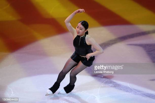 Rika Kihira of Japan performs during the Gala Exhibition during day five of the ISU World Figure Skating Championships at Ericsson Globe on March 28,...