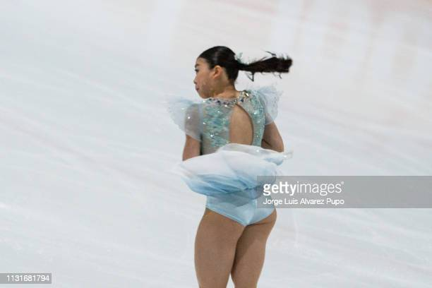 Rika Kihira of Japan performs during the Short program of the Figure Skating Challenge Cup 2019 at the Ice rink u201cDe Uithofu201d on February 23...