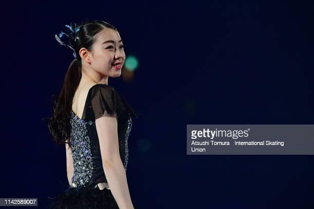 Rika Kihira of Japan performs in the exhibition gala during day 4 of the ISU Team Trophy at Marine Messe Fukuoka on April 14 2019 in Fukuoka Japan...