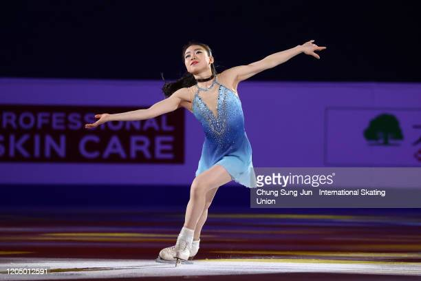Rika Kihira of Japan performs in the Gala Exhibition during the ISU Four Continents Figure Skating Championships at Mokdong Ice Rink on February 09,...