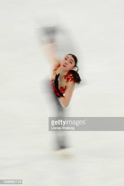 Rika Kihira of Japan performs in the Ladies Short Program during the ISU World Figure Skating Championships at Ericsson Globe on March 24, 2021 in...