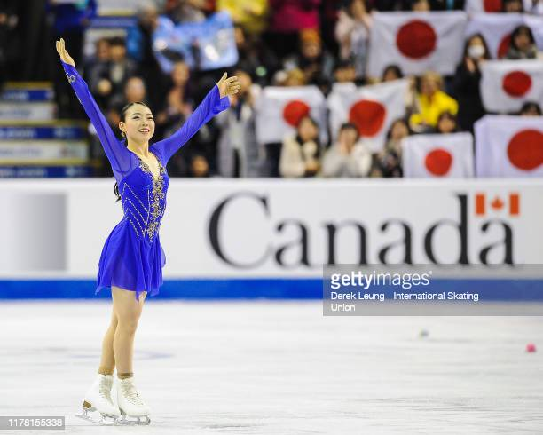 Rika Kihira of Japan places first in the ladies short program with a score of 8135 during the ISU Grand Prix of Figure Skating Canada at Prospera...