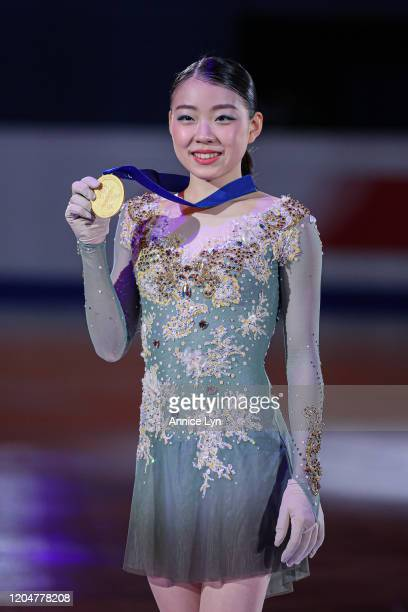 Rika Kihira of Japan pose with her gold medal at the Ladies victory ceremony during day 3 of the ISU Four Continents Figure Skating Championships at...