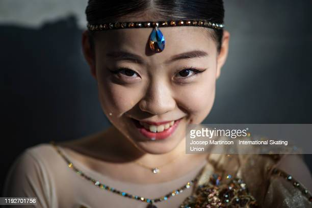 Rika Kihira of Japan poses for a photo ahead of the Gala Exhibition during the ISU Grand Prix of Figure Skating Final at Palavela Arena on December...