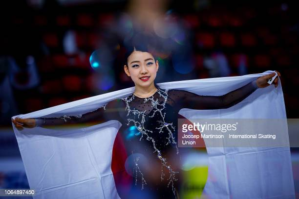 Rika Kihira of Japan poses in the Ladies medal ceremony during day 2 of the ISU Grand Prix of Figure Skating Internationaux de France at Polesud Ice...