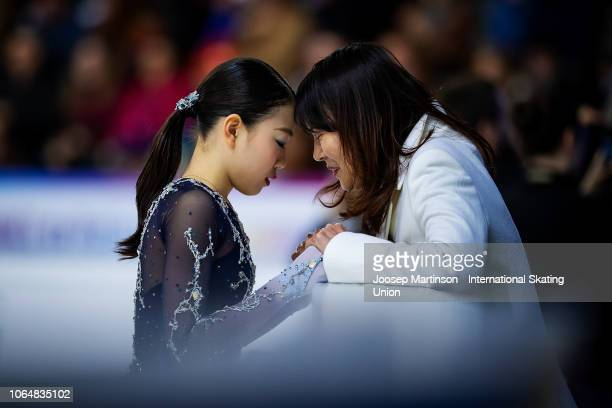 Rika Kihira of Japan prepares with her coach in the Ladies Free Skating during day 2 of the ISU Grand Prix of Figure Skating Internationaux de France...