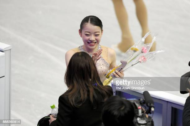 Rika Kihira of Japan reacts after competing in the Junior Ladies Singles Short Program during day one of the ISU Junior Senior Grand Prix of Figure...