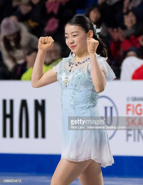 Rika Kihira of Japan reacts after competing in the Short Program of the Women's competition at the ISU Junior and Senior Grand Prix of Figure Skating...