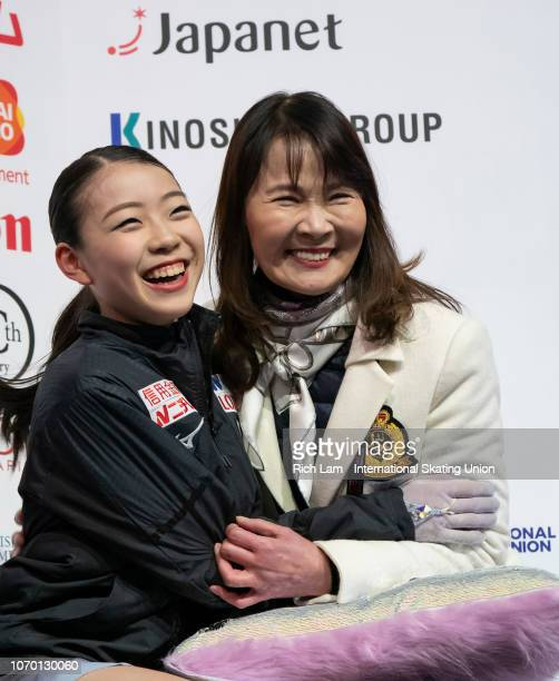 Rika Kihira of Japan reacts with her coach Mie Hamada after seeing her scorer in the Free Skate portion of the Ladies Championships on December 2018...