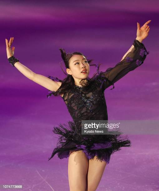 Rika Kihira performs during the exhibition gala of the Japanese national figure skating championships in Kadoma, Osaka, on Dec. 25 after finishing...