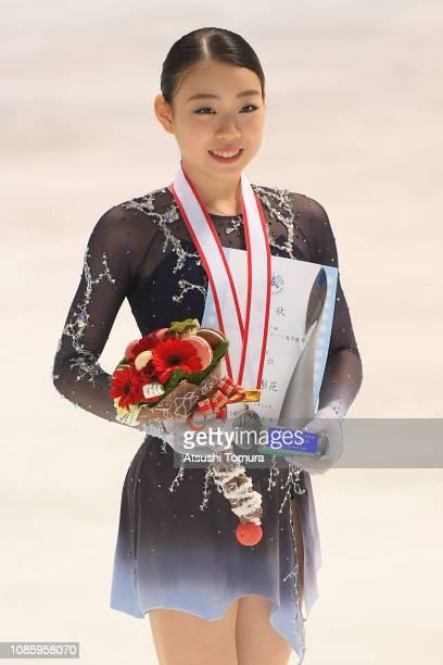 Rika Kihira poses with her silver medal after the ladies free skating during day three of the 87th Japan Figure Skating Championships at Towa Yakuhin...