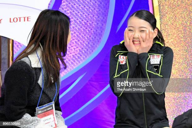 Rika Kihira reacts after competing in the Ladies Short program at the kiss and cry during day one of the 86th All Japan Figure Skating Championships...
