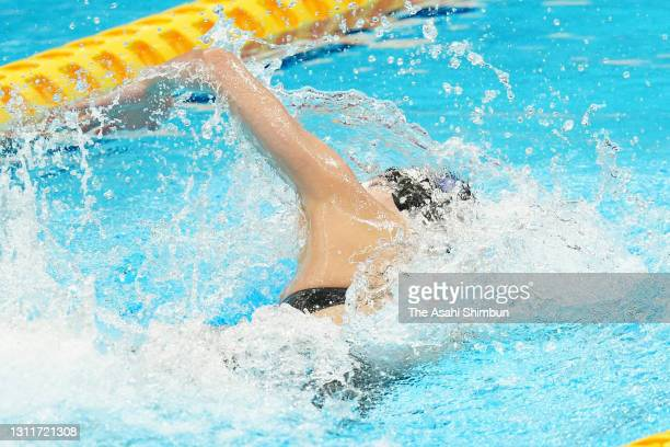 Rika Omoto competes in the Women's 50m Freestyle heat on day seven of the 97th Japan Swimming Championships at the Tokyo Aquatics Centre on April 9,...