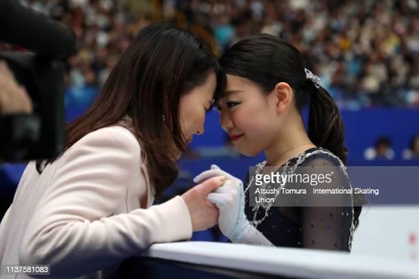 RikaKihira of Japan and her coach Mie Hamada are seen prior to the Ladies Free Skating on day three of the 2019 ISU World Figure Skating...