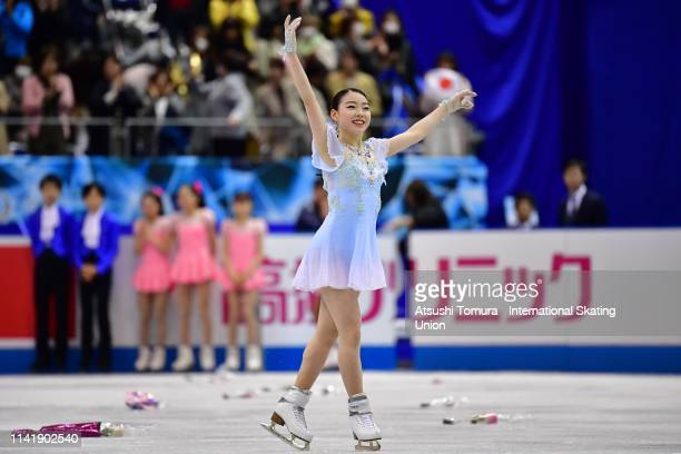 RikaKihira of Japan applauds fans after competing in the Ladies Single Short Program on day one of the ISU Team Trophy at Marine Messe Fukuoka on...