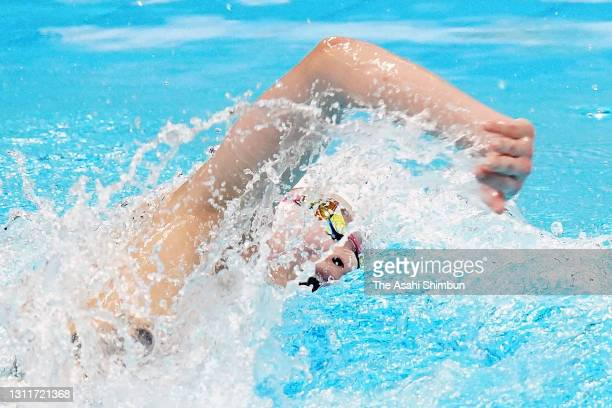 Rikako Ikee competes in the Women's 50m Freestyle semi final on day seven of the 97th Japan Swimming Championships at the Tokyo Aquatics Centre on...