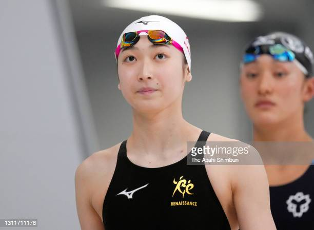 Rikako Ikee is seen prior to competing the Women's 50m Freestyle heat on day seven of the 97th Japan Swimming Championships at the Tokyo Aquatics...