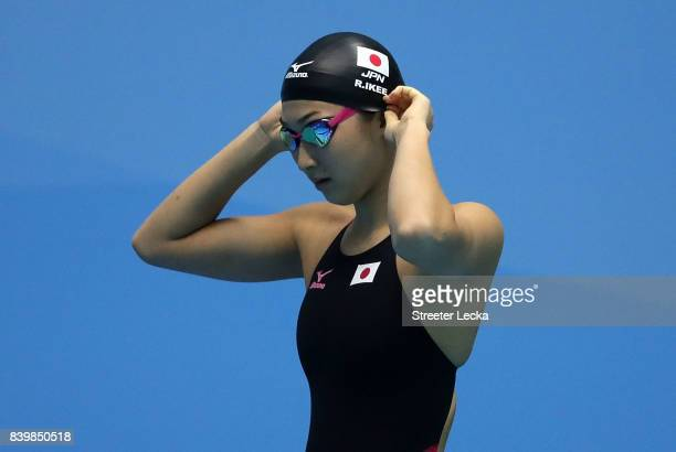 Rikako Ikee of Japan prepares for the Women's 50m Freestyle preliminaries during day 5 of the 6th FINA World Junior Swimming Championships at Indiana...