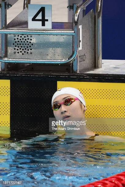 Rikako Ikee reacts after competing in the Women's 50m Freestyle heat on day seven of the 97th Japan Swimming Championships at the Tokyo Aquatics...