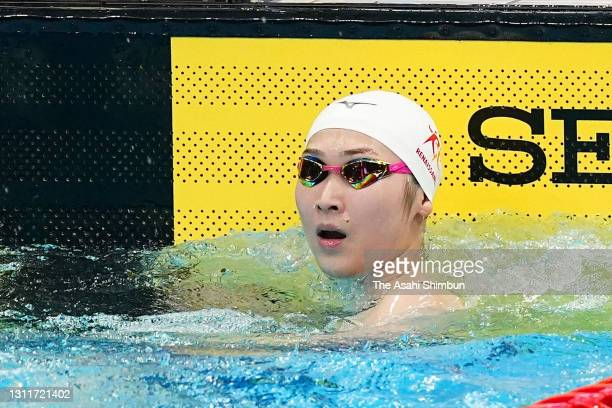 Rikako Ikee reacts after competing in the Women's 50m Freestyle semi final on day seven of the 97th Japan Swimming Championships at the Tokyo...