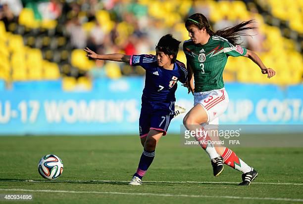 Rikako Kobayashi battls with Venessa Flores of Mexico during the FIFA U17 Women's World Cup Quarter Final match between Japan and Mexico at Edgardo...