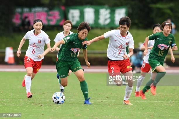 Rikako Kobayashi of NTV Beleza and Kana Osafune of Urawa Reds Ladies compete for the ball during the Nadeshiko League match between Nippon TV Tokyo...