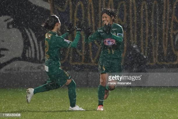 Rikako Kobayashi of NTV Beleza celebrates after scoring her team's second goal during the Empress Cup 41st JFA Women's Championship Semi Final...