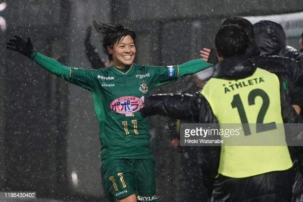 Rikako Kobayashi of NTV Beleza celebrates with her teammates after scoring her team's second goal during the Empress Cup 41st JFA Women's...