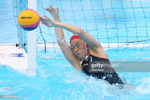 Rikako Miura of Japan saves a shot attempt against Italy during their Women's Water Polo Preliminary match on day four of the Gwangju 2019 FINA World...