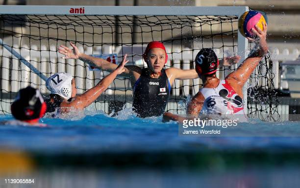 Rikako Miura of Japan watches the ball she attempts to make a save during the 2019 FINA World League InterContinental Cup Woman's match between Japan...