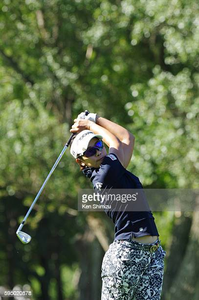 Rikako Morita hits her second shot on the 2nd hole during the first round of the Nitori Ladies 2016 at the Otaru Country Club on August 25 2016 in...