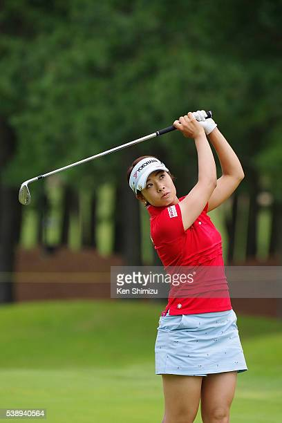 Rikako Morita of Japan hits her approach shot on the 12th hole during the first round of the Suntory Ladies Open at the Rokko Kokusai Golf Club on...
